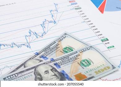 Stock market chart with 100 USA dollars banknote - studio shot