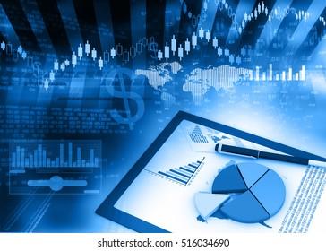Stock market chart analysis. 3d render