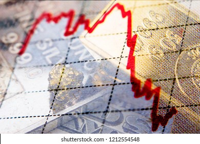 Stock market chart and close-up of gold bar and silver ounce on top of a dollar banknote