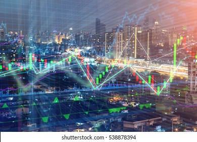 Stock market chart, Stock market data in blue on LED display concept with city scape hong kong blur background