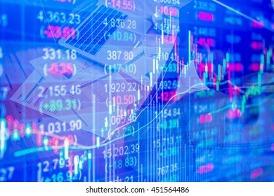 Stock market chart data on LED display concept. background stressed business man with graph document statistic and laptop on wood desk.