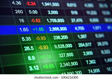 Stock market chart or Stock Exchange Board data on LED display concept and graph on background.