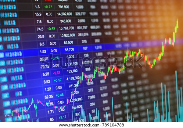 Stock market chart or Stock Exchange Board data on LED display concept.