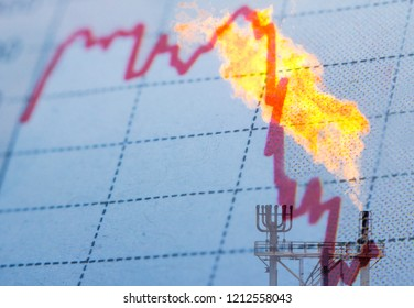 Stock market chart and industrial -oil and gas - background