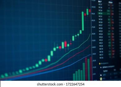 Stock Market Chart on Blue Background, stock up