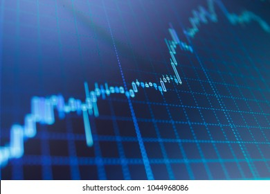 Stock market chart on LCD screen. Stock market and other finance themes. Big data on LED panel. Currency trading theme. Stock market concept and background. Professional market analysis.