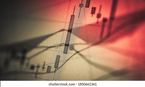 Börsendiagramme von Finanzinstrumenten mit verschiedenen Arten von Indikatoren, einschließlich Volumenanalyse für professionelle technische Analysen. Grundlegendes und technisches Analysekonzept.