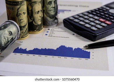 Stock market Charts and Hundred us dollar bills staying on the graph.Analysis report is important of value investor in stock market.