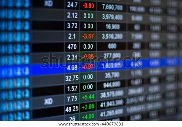 Stock market chart,Stock market data on LED display concept