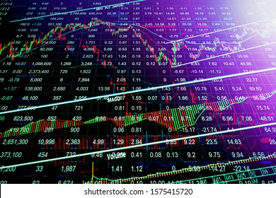 stock market concept and background Stock market graph on screen. Ticker on monitor screen.