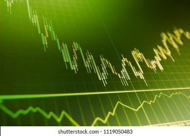 Stock market concept and background. Market report on blue background. Financial graph on a computer monitor screen. Market analysis for variation report of share price. Background stock chart.