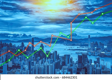 Stock market concept with cityscape background,real estate concept.