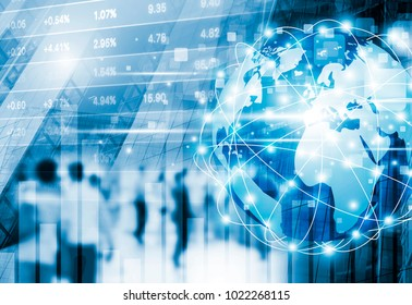Stock market concept design of digital global business network connection and people walking in the city