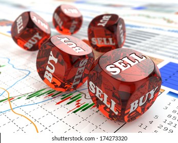 Stock market concept. Dice on financial graph. 3d