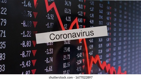 Stock market crash caused by a coronavirus all over the world . Global economic crysis concept Crude oil barrel negative price value on stock exchange 20 april 2020