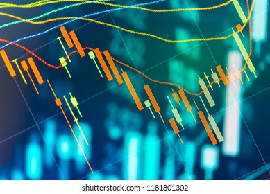Stock market data on digital LED display. A daily market price and quotation of prices chart and candle stick tracking for Forex trading.