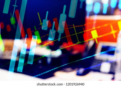 Stock market data on digital LED display. A daily market price and quotation of prices chart and candle stick tracking for Forex trading. Financial data on the digital screen as concept.