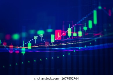Stock market data on digital LED display. Fundamental and technical analysis with candle stick graph chart of stock market trading to represent about Bullish and Bearish point.