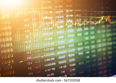 Stock market data on LED display concept. A large display of daily market price and quotation.