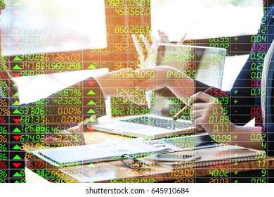 Stock market data trade concept. Digital financial trade analysis background.