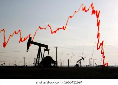 Graphique en déclin de la Bourse et jack de pompe à huile - arrière-plan abstrait
