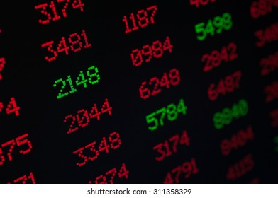 Stock Market - Digital Display With Red and Green Figures - Shallow Depth Of Field