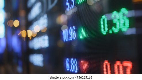 Stock market display at night