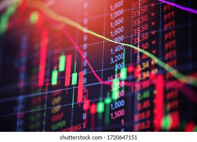 Stock market exchange loss trading graph analysis investment indicator business graph charts of financial board display candlestick crisis stock crash red price chart fall money  - Shutterstock ID 1720647151