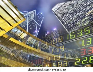 Stock Market Exchange on a skyscraper background
