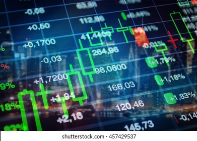 Stock market, finance, economy, banking concept background. Trading graph, financial data and market tickers at blue background.