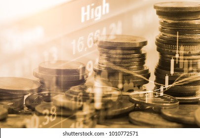 Stock market or forex trading graph and candlestick chart suitable for financial investment concept. Economy trends background for business idea and all art work design. Abstract finance background.