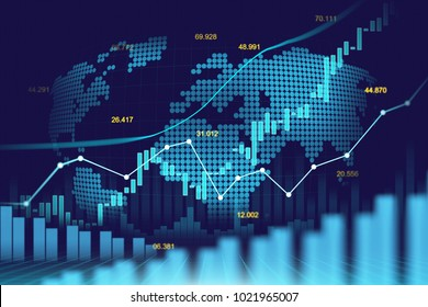 Stock market or forex trading graph in futuristic concept suitable for financial investment or Economic trends business idea and all art work design. Abstract finance background