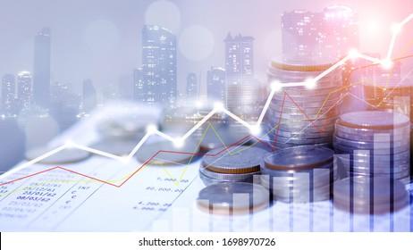 Börse- oder Devisenhandel-Diagramm, Reihen von Münzen für Finanz- und Geschäftskonzept, Devisen-Handelskarte ökonomisch, ECN Digital Economy, Business, Geld, Passiveinkommen. 50 mps