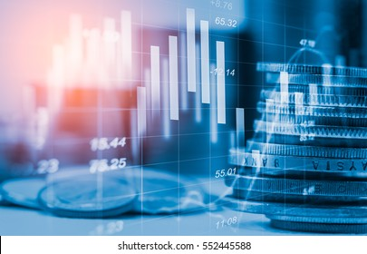 Stock market or forex trading graph and candlestick chart suitable for financial investment concept. Economy trends background for business idea and all art work design. Abstract finance background.   - Shutterstock ID 552445588