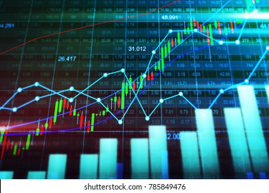 Stock market or forex trading graph with candlestick chart suitable for financial investment concept. Economic trends background for business idea and all art work design. Abstract finance background