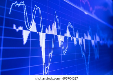 Stock market graph analysis. Stock market data on LED display on laptop screen for finance and economic. Business graph background.