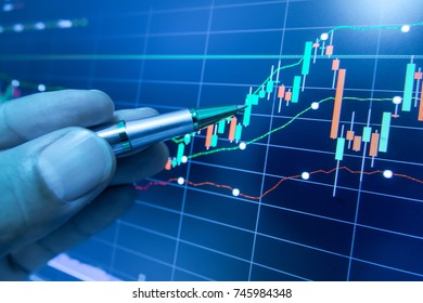 Stock market graph analysis for stock exchange, finance, investment and economy. Graph analysis background on LED screen.