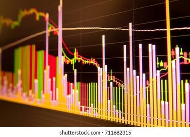 Stock market graph background. Stock exchange market graph analysis.