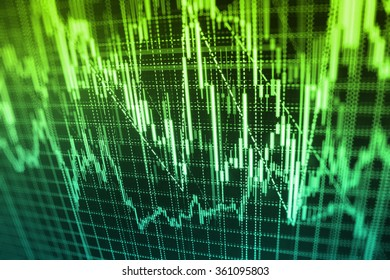 Stock market graph and bar chart price display. Data on live computer screen. Display of quotes pricing graph visualization. Abstract financial background trade colorful