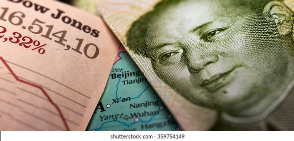 Stock Market Graph and a Chinese Yuan banknote (figuring Mao Zedong) on top of a map of China. Red downtrend indicates the stock market recession period