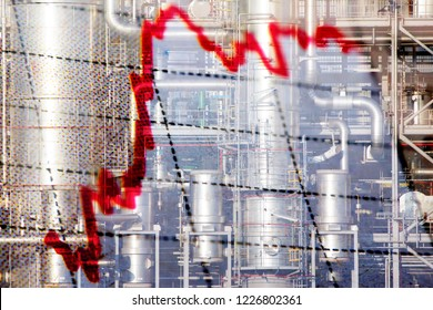 Stock market graph and industrial - oil and gas - background