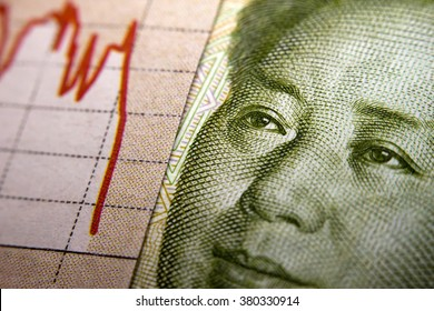 Stock Market Graph next to a Chinese banknote (showing Mao). Red downtrend indicates the stock market recession period