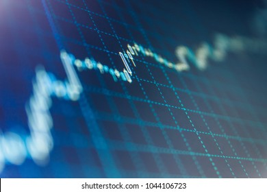 Stock market graph on the screen. Stock market concept and background. Share price candlestick chart. Price chart bars. Data on live computer screen.