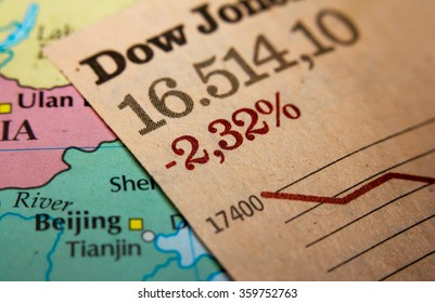 Stock Market Graph on top of a map of China. Red downtrend indicates the stock market recession period