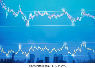 stock market graph and price trend line with RSI indicator on LED Monitor, cityscape and sky on blue background