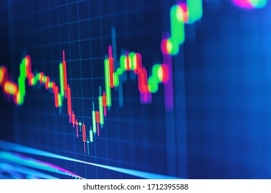 Stock market graphs and charts analysis. Business analytic with tablet pc and laptop computer. Business graph with arrow showing profits and gains. Tablet computer with business chart