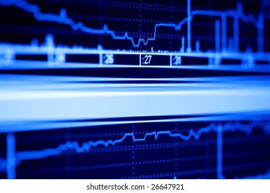 Stock market graphs on the lcd monitor.