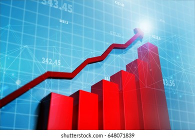 Stock market graphs, showing growth