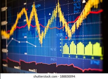 Stock market index graphs background.