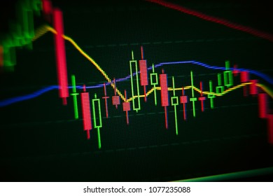 stock market interface on lcd display with blur and moire effects, digital trading concept